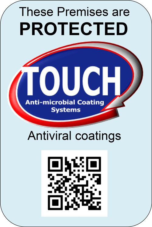 Touch Anti-Microbial Service window sticker
